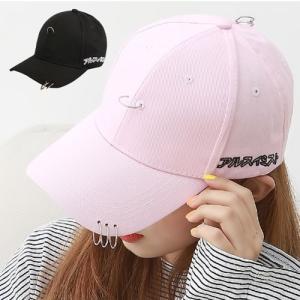 4リング ベースボールキャップ 帽子  b系 ヒップホップ ストリート系 レディース ローキャップ ブラック ピンク ホワイト リング付き|pancoat