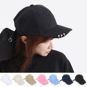 3リング ベースボールキャップ 帽子  b系 ヒップホップ ストリート系 レディース ローキャップ ブラック ピンク ホワイト リング付き|pancoat