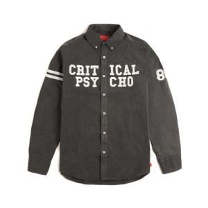CRITIC クリティック CRITICAL PSYCHO SHIRTS GREY カジュアルシャツ フードバイエアーファン必見 ロゴ アメカジ系tシャツ|pancoat