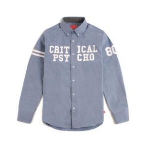 CRITIC クリティック CRITICAL PSYCHO SHIRTS BLUE カジュアルシャツ フードバイエアーファン必見 ロゴ アメカジ系tシャツ|pancoat