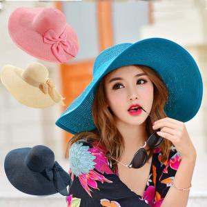 麦わら帽子 UVケア 紫外線防止 キャップ 日よけ ストローハット ペーパーハット つば広 レディース 女優帽 麦わら帽子 リボン 帽子 軽い 可愛い|pancoat