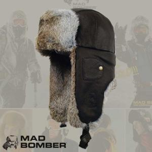 305LBLK ロシア帽子 マッドボンバーハット ラビット ファー100% 帽子 スキー帽子 アメリカブランド  防寒用 ボンバーハット パイロットキャップ 毛皮 冬帽子|pancoat
