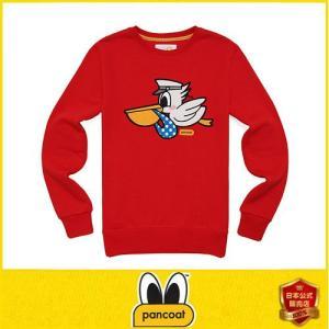 Pancoat パンコート POPPELI FLEECE CREWNECK RIBBON RED キャラクター トレーナー 長袖 クルーネック Tシャツ 長袖 ト パンコート|pancoat