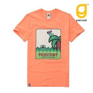 Pancoat パンコート キャラクター T-シャツ POPPARROT WITH POP CROCO T-SHIRTS POP ORANGE 半袖 夏 Tシャツ メンズ レデ パンコート|pancoat