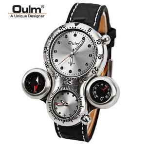 2フェイス腕時計 メンズ ビッグフェイス仕様 クオーツ ラウンド オシャレ シンプルカジュアル ビジュアル シルバー デザインとけい コンパス  温度計|pancoat