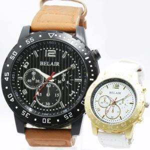 Bel Air メンズ腕時計圧倒的な重厚感 ビッグフェイス メンズ 腕時計 ウォッチ 日本製ムーブメント クロノデザイン 大きいサイズ|pancoat