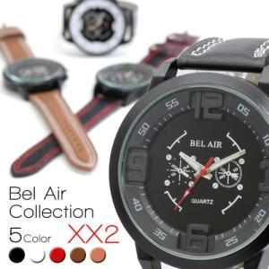 Bel Air カジュアル メンズ 腕時計 ウォッチ Watch 立体 インデックス レザーベルト 学生 ファッション おしゃれ|pancoat