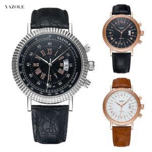 YAZOLE 腕時計 クラシック ビジネス メンズ ファッション ウォッチ カレンダー ギフト プレゼント 男性 生活防水|pancoat