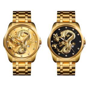 竜 ドラゴン  腕時計 時計 ファッションウォッ ファッション メンズ  オシャレ ゴールド|pancoat
