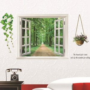 ウォールステッカー 1枚入り 木 窓 壁シール 壁紙 北欧 飾り 内装 DIY リフォーム 自然 ナチュラル|pancoat