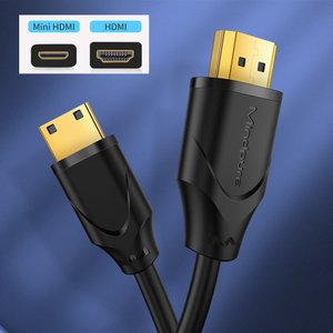 4K ミニ HDMIケーブル 1m ハイスピード HDMI 2.0a規格 綿繊維編み ミニ HDMIケーブル 1m 金メッキプラグ仕様 デジタルデータ転送ケーブル|pancoat