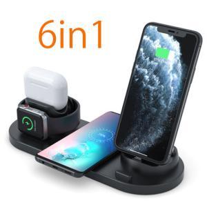 ワイヤレス充電器 6in1 ワイヤレス 充電 Qi アンドロイド iPhone Micro Type-C 急速 apple watch SE airpods 2台 同時充電 急速充電 置くだけ 充電スタンド|pancoat