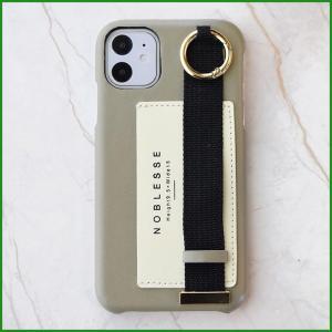 フラワーリング iPhone11/XR対応 バンド付ケース シンプルロゴ カーキ SCCR001-KH|b03|pandafamily