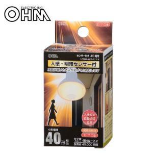OHM LED電球 レフランプ形 E17 40形相当 人感・明暗センサー付 電球色 LDR4L-W/S-E17 9|b03|pandafamily