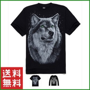 Tシャツ 3Dプリント ブラック 狼王 オオカミ 半袖 メンズ 長袖 秋 冬 大人 ファッション サイズ豊富|b01|pandafamily