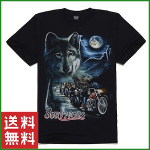 Tシャツ 3Dプリント ブラック 狼とバイカー達 半袖 メンズ ファッション 夏 大人|b01|pandafamily