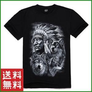 Tシャツ 3Dプリント ブラック 狼とインディアン 半袖 メンズ 大人 ファッション 夏 サイズ豊富|b01|pandafamily