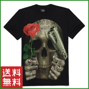 Tシャツ 3Dプリント ブラック バラとピストル 半袖 メンズ 大人 ファッション 夏 サイズ豊富|b01|pandafamily
