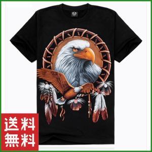 Tシャツ 3Dプリント ブラック タカ 半袖 メンズ 大人 ファッション 夏 サイズ豊富|b01|pandafamily