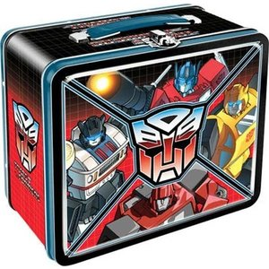 テレビ番組商品 海外セレクション Transformers Autobot Panels Optimus Prime Ironhide Licensed Tin Tote Lunch Box|pandastore