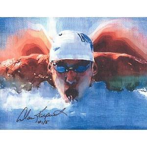 海外セレクション 版画Michael Phelps Olympic スイミング キャンバス 8 5 x11