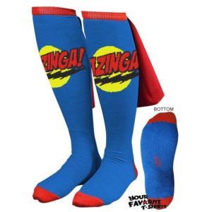 ビデオゲーム キャラクター グッズ ビッグバンセオリーBig Bang Theory ブルー Bazinga Caped 靴下 Sheldon Cooper ライセンス 靴下 pandastore