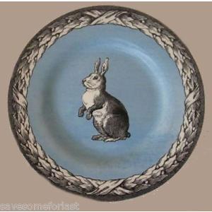 中国食器 Carly Dodsley BUNNY Rabbit ウイズ Laurel Edge China Soup Cereal Bowl 7.5