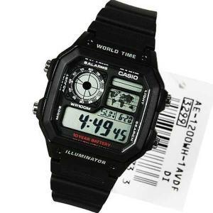 腕時計 カシオ Casio World Time アラーム デジタル 腕時計 AE-1200WH-1AV AE-1200WH-1 AE1200W|pandastore