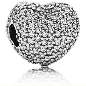 ビーズ 海外セレクション Authentic Pandora Charm Sterling Silver Heart Pave CZ Clip 791427CZ|pandastore
