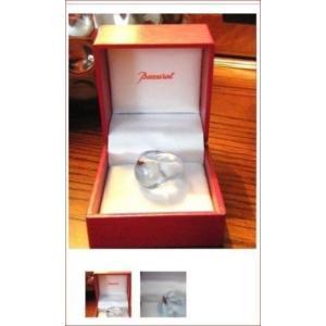 クリスタル バカラ Baccarat Crystal Galet Ring - AQUA 49 Size 5  MINT IN BOX|pandastore