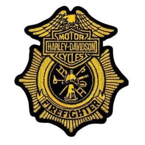 パッチ ハーレーダビッドソン Harley-Davidson Firefighter Gold Patch, Small 3-1/2'' W x 4'' H EM1265172|pandastore