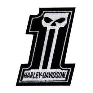 パッチ ハーレーダビッドソン Harley-Davidson #1 Skull Black & White Small Patch, 3'' W x 4'' H EM718302|pandastore