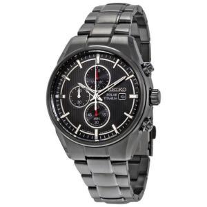 腕時計 セイコー Seiko ソーラー チタニウム ブラック クロノグラフ ダイヤル ブラック チタニウム メンズ 腕時計 SSC393