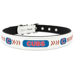 Gamewear 犬 首輪 Chicago Cubs ホワイト クラシック レザー Collar|pandastore