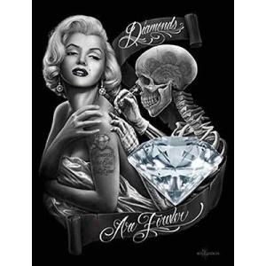 プリント  海外セレクション Diamonds By David Gonzales Canvas Giclee Skeleton Tattoo Marilyn Monroe Pinup|pandastore