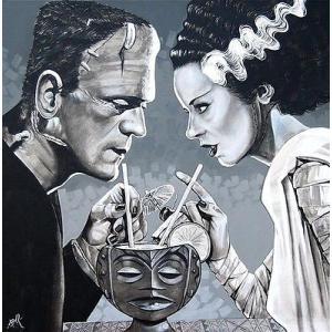 アート  海外セレクション Amorous Libation by Mike Bell Frankenstein Bride Monster Canvas Giclee|pandastore