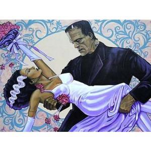 アート  海外セレクション The Wedding by Mike Bell Frankenstein Vows Monster Bride Canvas Giclee|pandastore