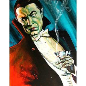 アート  海外セレクション Bat Man by Mike Bell Dracula Vampire Martini Bela Lugosi Canvas Giclee|pandastore
