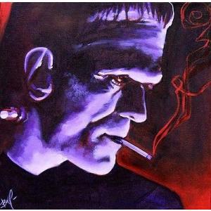 アート  海外セレクション Franky by Mike Bell Frankenstein Monster Smoking Cigarette Canvas Giclee|pandastore