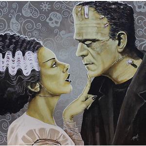 アート  海外セレクション Flirtationship by Mike Bell Bride Frankenstein Monster Canvas Giclee|pandastore