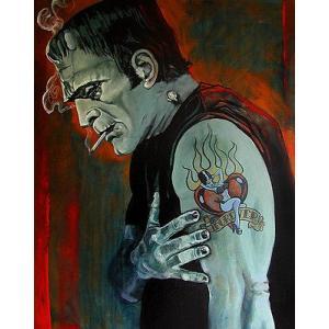 アート  海外セレクション Brokenhearted by Mike Bell Frankenstein Tattoo Canvas Giclee|pandastore