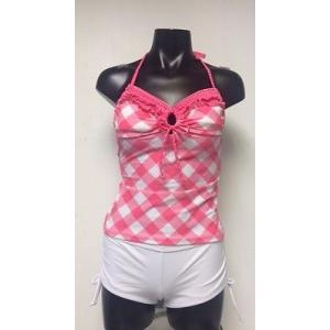レディース 水着 フラハニー Hula Honey ピンク/ホワイト Plaid Halter トップス Soft Cup Bikini 2 Piece Set サイズ M