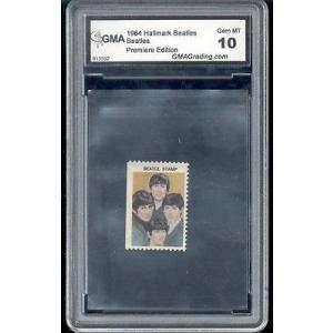 海外セレクション 音楽1964 The Beatles George Harrison Hallmark rookie stamp gem ミント 10|pandastore