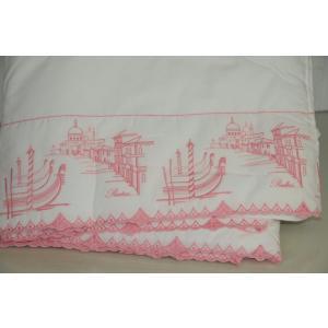 キルト ベッドカバー プラテシ PRATESI Pink Embroidery WHITE Quilt Bedspread Coverlet Queen King
