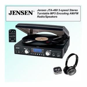 家電 電化製品ステレオ コンポーネント レコードプレーヤー/ホームターンテーブル Jensen JTA-460 MP3 3-Speed Stereo Turntable with Headphone Kit|pandastore