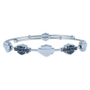 7 in HSB0086-7 Harley-Davidson Womens Beaded Bar /& Shield Bangle Bracelet