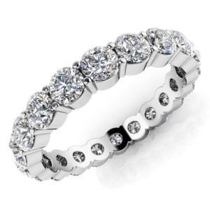 海外バイヤー厳選 ダイヤモンド リング 指輪 12ct ラウンド Cut ダイヤモンド SI1,SI2 14K ホワイト ゴールド 5.5ミリ Eternity バンド 8.2gr Prong