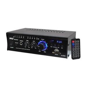 オーディオ ホームオーディオステレオ コンポーネント アンプ プリアンプ Pyle Home PCAU46A Mini 2x120 Watt Stereo Power Amplifier with USB/SD Input|pandastore