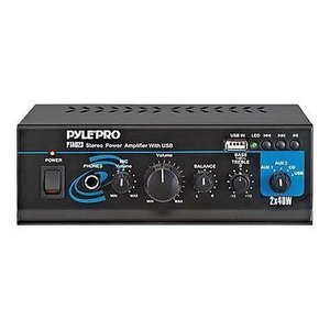 オーディオ ホームオーディオステレオ コンポーネント アンプ プリアンプ Pyle PTAU23 Mini 2x40W Stereo Power Amplifier with USB/AUX Inputs|pandastore