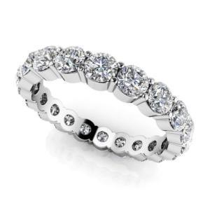 海外バイヤー厳選 ダイヤモンド リング 指輪 7.98ct ラウンド Cut ダイヤモンド SI1,SI2 G-H 14K ホワイト ゴールド 4.75ミリ Eternity バンド Prong